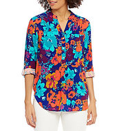 Intro 3/4 Roll-Tab Sleeve Floral Print Popover Top