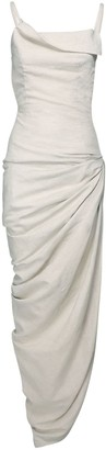 Jacquemus Draped Cotton & Linen Long Dress W/Slit