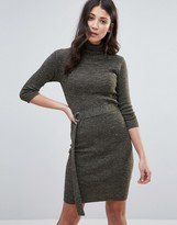 Brave Soul Belted Turtleneck Sweater Dress