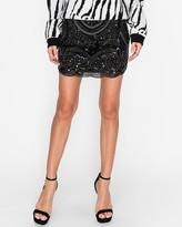 Express Endless Rose Black Beaded Embroidered Skirt