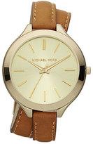 Michael Kors Double-Wrap Leather Watch, Golden