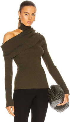 Monse Fold Over Draped Knit Sweater in Olive | FWRD