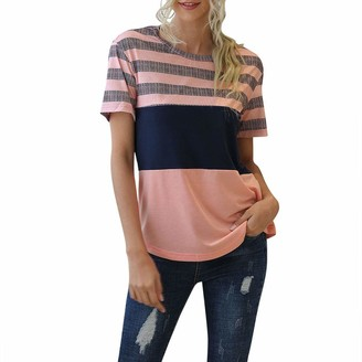 CUTUDE Womens Short Sleeve Striped Ladies Fashion Shirt T Shirt Patchwork Stitching O-Neck Casual Blouses and Tops (Pink XL)