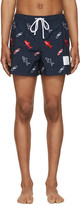 Thom Browne Navy Classic Shark and Surfboard Swim Shorts