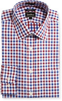 Neiman Marcus Trim-Fit Regular-Finish Plaid-Print Dress Shirt, Red