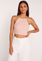 Missguided Sheer Stripe High Neck Crop Top Nude