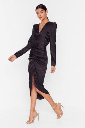 Nasty Gal Womens Slit of the Lip Satin Midi Dress - black - S