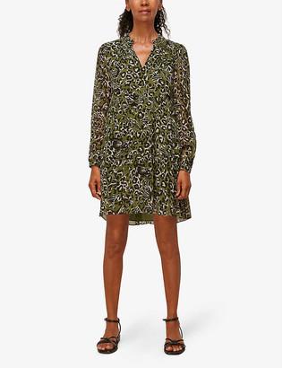 Whistles Animal-print tiered crepe dress