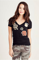 True Religion Printed Patch Vneck Womens Tee