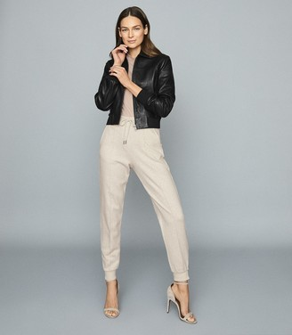 Reiss JODIE Cotton wool blend joggers Neutral