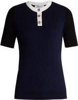 Courreges Contrast-neckline ribbed-knit top