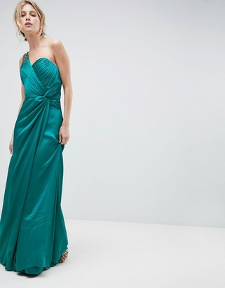 Little Mistress One Shoulder Maxi Dress With Ruched Detail-Blue