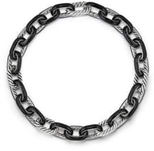 David Yurman Dy Madison® Chain Enamel Necklace In Black