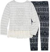 Knitworks Knit Works Lace Bottom Embellished Top, Legging Set