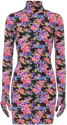 Vetements Floral stretch-jersey glove minidress