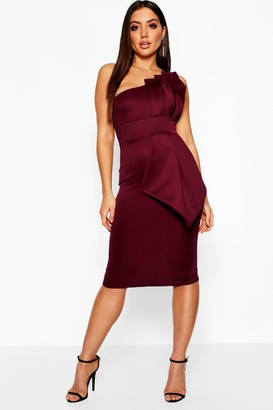 boohoo One Shoulder Pleated Detail Midi Dress
