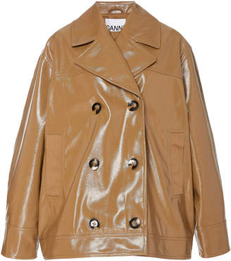 Ganni Double-Breasted Patent-Leather Jacket