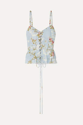 Brock Collection Lace-up Floral-print Cotton-blend Jacquard Top - Turquoise