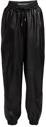 Alexander Wang High-Rise Dipped Front Leather Joggers
