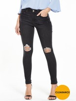 Miss Selfridge Lizzie Ripped Raw Hem Jean - Black