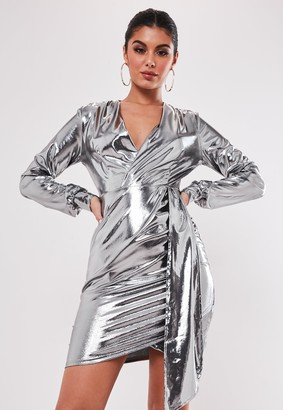Missguided Tall Silver Metallic Wrap Front Dress