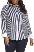 Foxcroft Plus Size Women's Lauren Sateen Stripe Shirt