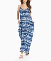 Sweet Pea Blue Geometric Maxi Dress