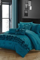 Monroe Ruching Pleated Ruffles Complete Bed in a Bag 10-Piece Comforter Set - Teal