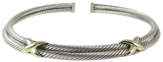 David Yurman Sterling Silver & 14K Yellow Gold 2-Row XX Cable Necklace
