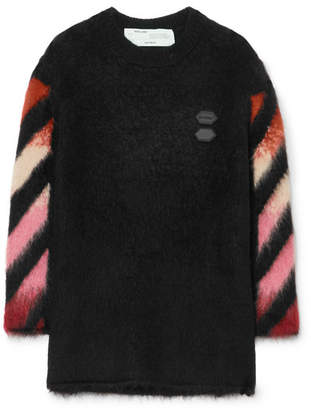 Off-White Off White Oversized Intarsia Wool-blend Sweater - Black