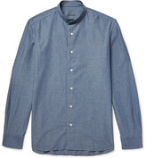 Caruso Grandad-Collar Cotton-Chambray Shirt