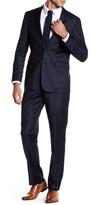 Vince Camuto Navy Pinstripe Two Button Notch Lapel Wool Trim Fit Suit