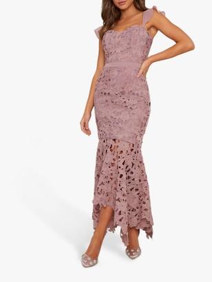Chi Chi London Ramona Laser Floral Dress, Mink