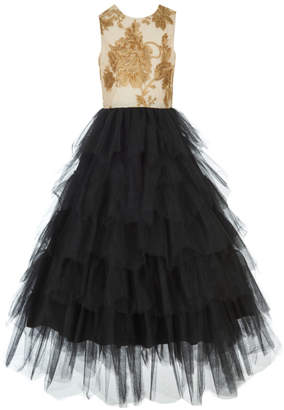 Badgley Mischka Kid's Floral Glitter & Tulle Gown, Size 7-14