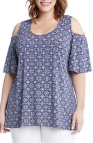 Karen Kane Plus Size Women's Medallion Print Cold Shoulder Top