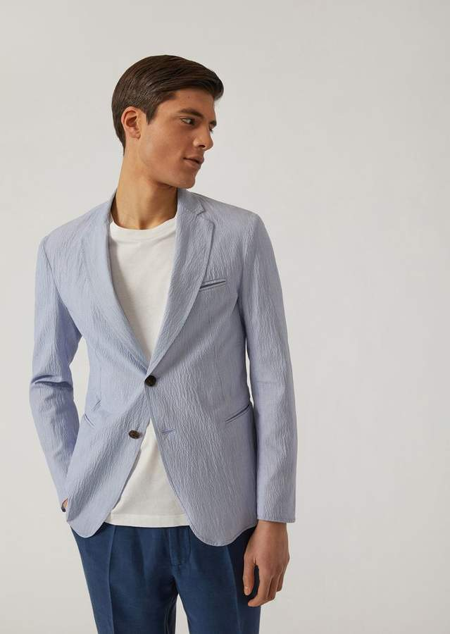 Emporio Armani Single-Breasted Linen And Seersucker Blend Jacket