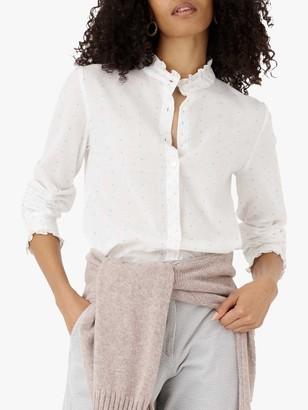 Brora Dobby Cotton Blouse, White/Multi