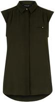 Dorothy Perkins Khaki Button Sleeveless Shirt
