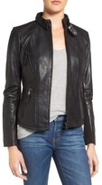 Bernardo Women's Zip Front Leather Biker Jacket