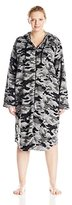 Casual Moments Women's Plus-Size 44 Inch Hooded Zip Front Robe