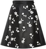 Carolina Herrera Enameled Jasmine A-Line Leather Skirt