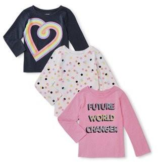 Garanimals Baby Toddler Girl Printed & Graphic Long Sleeve T-shirts, 3 pack (12M-5T)