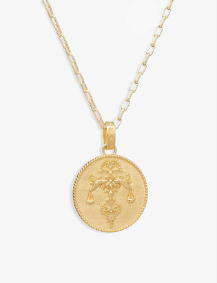 Rachel Jackson Zodiac Art Coin Libra long 22ct gold-plated sterling silver necklace