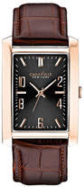 Caravelle New York Analog Rectangular Goldtone Leather Strap Watch