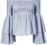Caroline Constas off-the-shoulder gingham blouse with layered fluted sleeves