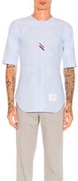 Thom Browne Collarless Short Sleeve Oxford in Blue.