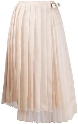 Fendi asymmetric pleated skirt