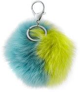 Adrienne Landau Two-Tone Fox Fur Pompom/Charm for Handbag, Yellow/Blue