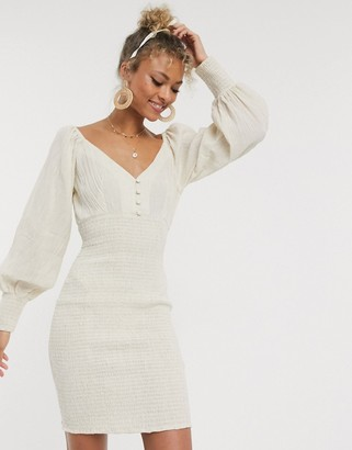 ASOS DESIGN shirred mini dress with long sleeves in natural crinkle in stone