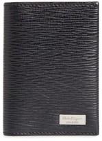 Salvatore Ferragamo Men's Revival Leather Folding Card Case - Black